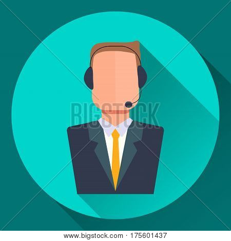 Vector simulataneous interpreter icon. A translator in a suit wearing a headset. Flat style illustration