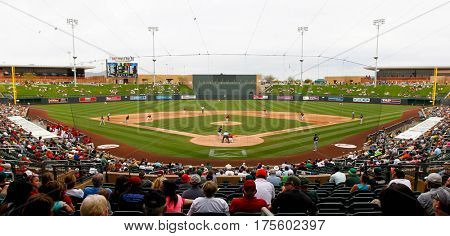 SCOTTSDALE, AZ-MAR 6: General view behind homeplate at the game between Arizona Diamondbacks and Oakland Athletics at Salt River Fields at Talking Stick on March 6, 2014 in Scottsdale, Arizona.