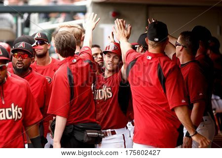 SCOTTSDALE, AZ-MAR 6: Arizona Diamondbacks shortstop Chris Owings high fives teammates against the Oakland Athletics at Salt River Fields at Talking Stick on March 6, 2014 in Scottsdale, Arizona.