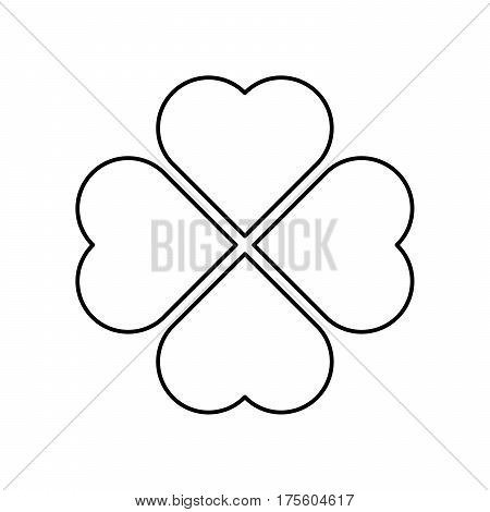 Shamrock silhouette - black outline four leaf clover icon. Good luck theme design element. Simple geometrical shape vector illustration.