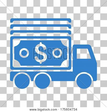 Cash Lorry icon. Vector illustration style is flat iconic symbol cobalt color transparent background. Designed for web and software interfaces.