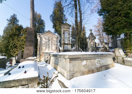 Lviv, Ukraine - Feb 14, 2017: Old Graves In The Lychakivskyj Cemetery Of Lviv, Ukraine. Officially S