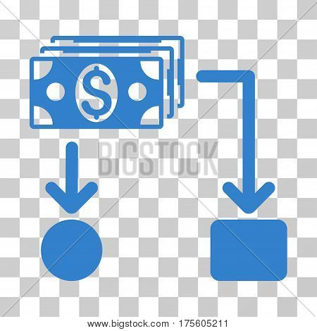 Cashflow icon. Vector illustration style is flat iconic symbol cobalt color transparent background. Designed for web and software interfaces.