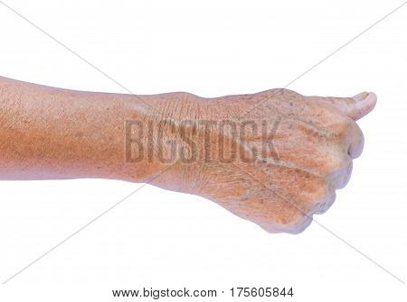 Old woman's arm with wrinkles on arm with white background beauty care and health care concept