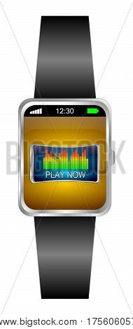 Smartwatch with Play Button - 3D illustration