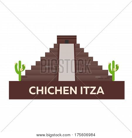 Travel To Mexico. America. Chichen Itza. Vector Illustration.