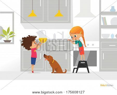 Two kids cooking their own breakfast. Boy holding pitcher with orange juice girl opening kitchen box and funny dog. Independent children concept. Vector illustration for flyer banner postcard.