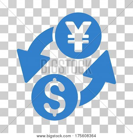 Dollar Yen Exchange icon. Vector illustration style is flat iconic symbol cobalt color transparent background. Designed for web and software interfaces.