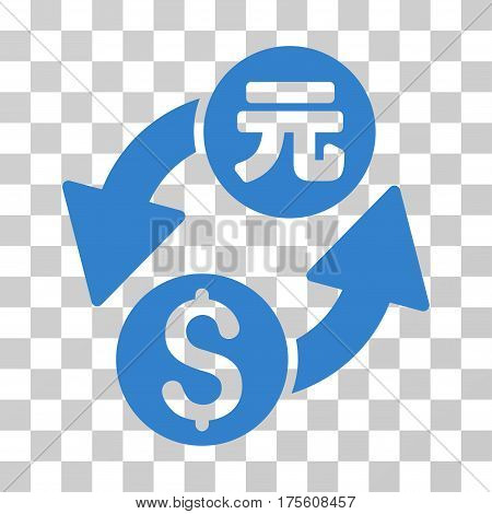 Dollar Yuan Exchange icon. Vector illustration style is flat iconic symbol cobalt color transparent background. Designed for web and software interfaces.