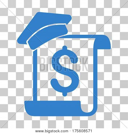 Education Invoice icon. Vector illustration style is flat iconic symbol cobalt color transparent background. Designed for web and software interfaces.