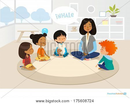 Smiling kindergarten teacher and children sitting in circle and meditating. Preschool activities and early childhood education concept. Vector illustration for banner website poster advertisement.