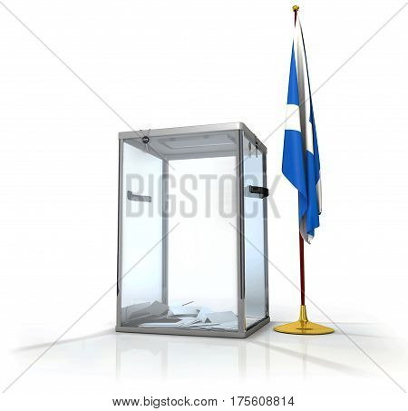 Realistic empty transparent ballot box with voting paper, flag of Scotland, 3d illustration