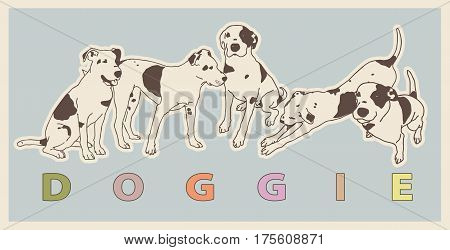 Black & White Dog in different positions together in brand forming for dogs products. Doggie multicolored lettering beneath a group of cute outlined dogs. Flatten isolated master vector illustration.
