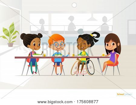 Smiling disabled girl sitting at table in school canteen and talking to her classmates. Children's friendship. Inclusive education concept. Vector illustration for banner, website, advertisement.