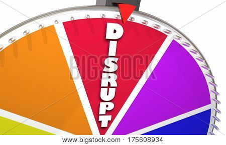 Disrupt Word Game Show Wheel Spinning 3d Illustration