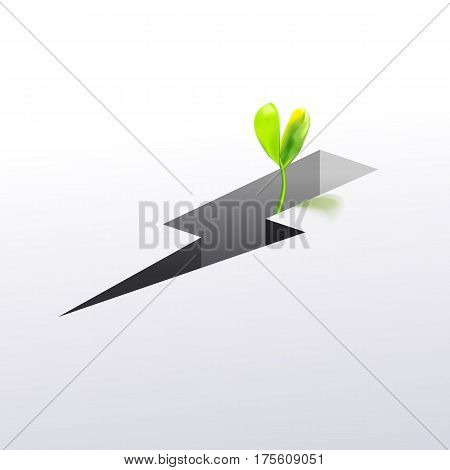 Strong sprout growing through crack. Vector illustration. Two leaves sprout. Beginning creative concept.