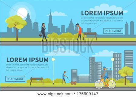 Web banner of people spending time in park with buildings on background. Vector illustration of businessman talking over cellphone, walking boy with smartphone, man with dog and girl riding a bike