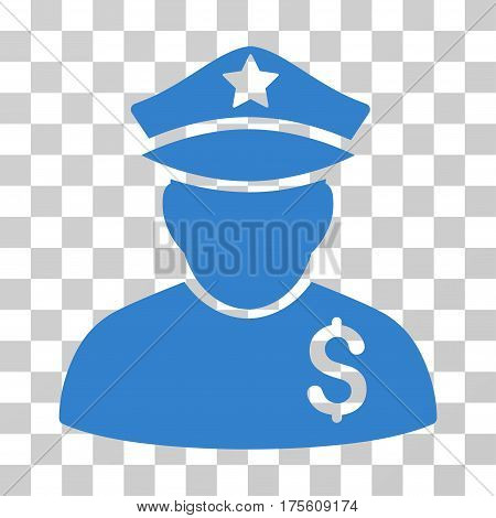 Financial Policeman icon. Vector illustration style is flat iconic symbol cobalt color transparent background. Designed for web and software interfaces.