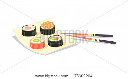 Sushi set of four on square plate and two chopsticks near on white background. Vector illustration of traditional oriental asian cuisine, collection of round sushi with salmon and red caviar