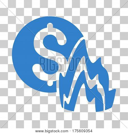 Fire Disaster Price icon. Vector illustration style is flat iconic symbol cobalt color transparent background. Designed for web and software interfaces.
