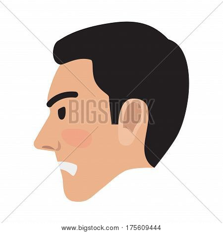 Angry man avatar user pic isolated on white. Vector illustration of side view of upset person. Male head with spiteful facial expression. Adult profile icon with wicked face, character in bad mood