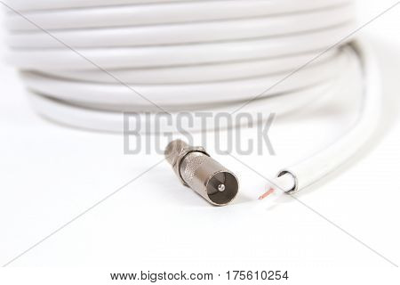 Tv Coaxial Cable And Connectors On White Background.
