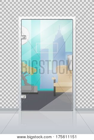 Office workplace through glossy glass door view flat vector. Entrance to the reception with sofa, bonsai tree and city view from window. Modern office interior design illustration for business concept
