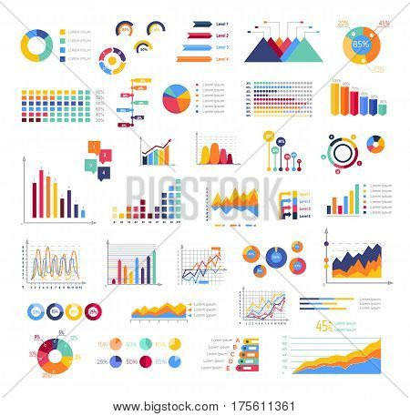 Graphics colourful for display white poster. Round, triangular, rising, falling and with percentages diagrams showing business progress and regression. Vector set of abstract virtual elements.