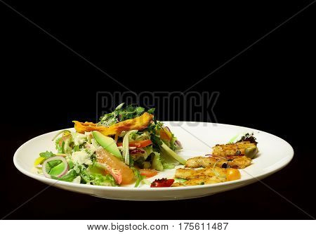 Green Salad With Fried Fish