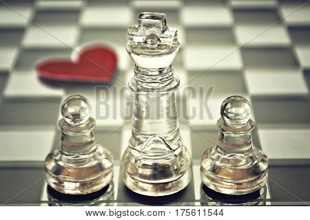 Happy Fathers Day card  with king and pawns on chess board