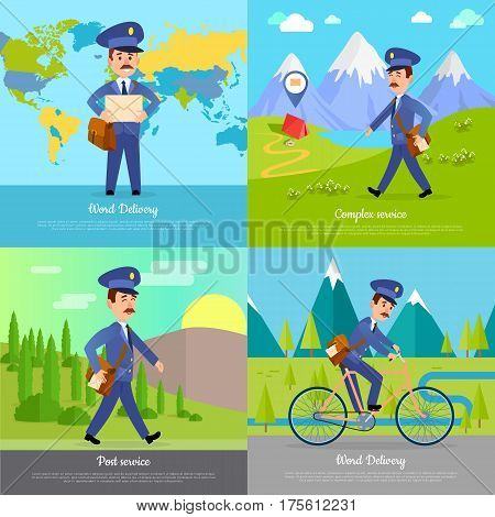 World delivery complex post service banner with postman. Mailman on bicycle rides on road near mountains. Express messenger to any part of the globe. Vector illustration of advertisement set