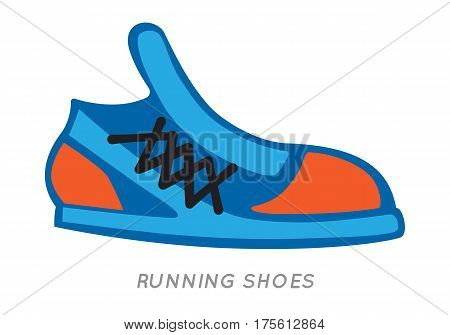Icon of running shoes in cartoon style. Vector illustrations of isolated blue-orange shoe on white background. Sneakers with shoelace footwear for sport lifestyle. Shoes for running in flat style