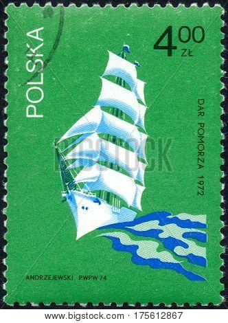 UKRAINE - CIRCA 2017: A stamp printed in Poland shows sailing yacht Dar pomorza 1972 circa 1974