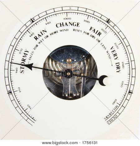 Barometer Dial Set To Stormy