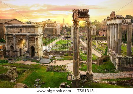 Ruins of Roman's forum at sunset, ancient government buildings started 7th century BC. Rome