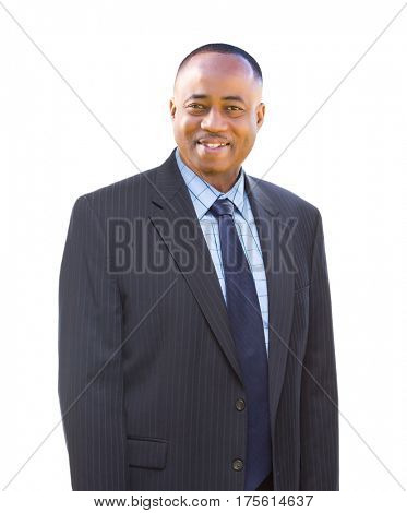 Handsome African American Businessman Isolated on a White Background.
