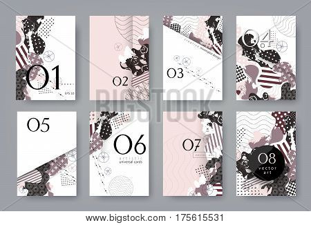 Set of templates A4 pages. Abstract monochrome geometric background. Collage of textures. Trendy compositions for business, technology and advertising. Modern style design. Vector illustration EPS-10.