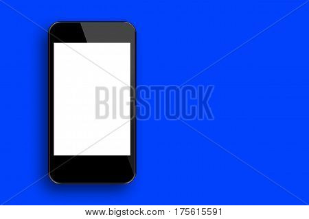 Blank Screen Smartphone with Blue Colour Background
