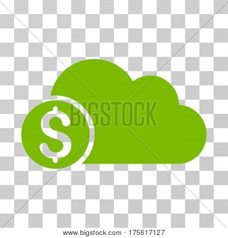Banking Cloud icon. Vector illustration style is flat iconic symbol eco green color transparent background. Designed for web and software interfaces.