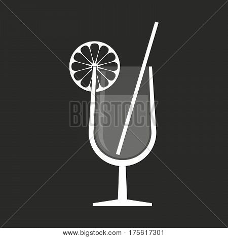 Isolated Vector Illustration Of  A Cocktail Glass With A Slice Of Lemon And A Straw