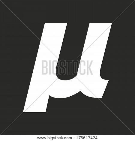 Isolated Vector Illustration Of  A Micro Sign, Mu Greek Letter