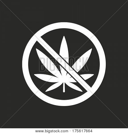 Isolated Vector Illustration Of  A Marijuana Leaf  In A Not Allowed Signal
