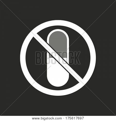 Isolated Vector Illustration Of  A Pill  In A Not Allowed Signal