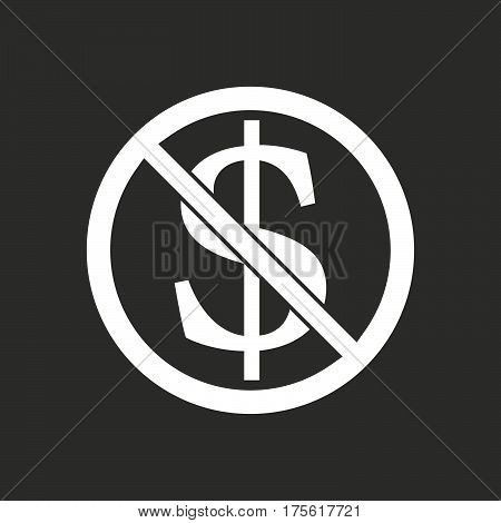 Isolated Vector Illustration Of  A Dollar Sign  In A Not Allowed Signal