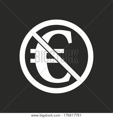 Isolated Vector Illustration Of  An Euro Sign  In A Not Allowed Signal