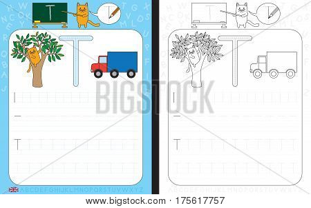 Worksheet for practicing letter writing - tracing letter T