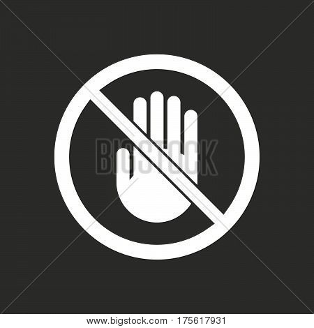Isolated Vector Illustration Of  A Hand  In A Not Allowed Signal