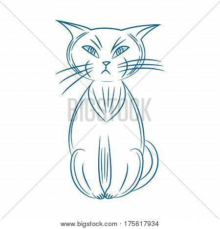 grumpy cat. handdrawn. isolated on white background. vector illustration.