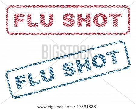 Flu Shot text textile seal stamp watermarks. Blue, red fabric vectorized texture. Vector caption inside rounded rectangular banner. Rubber sign with fiber textile structure.
