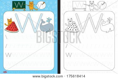 Worksheet for practicing letter writing - tracing letter W